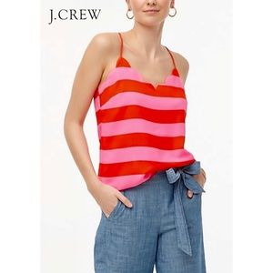 J.CREW Red Pink Striped Scalloped Camisole Top
